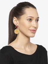 Load image into Gallery viewer, Gold Stones and Beads Drop Earrings-3