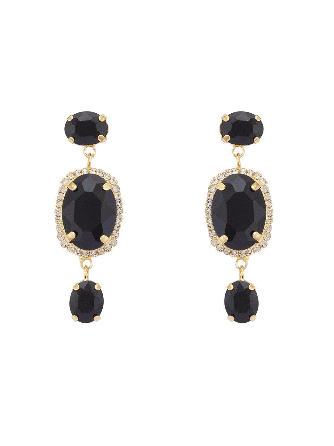Gold Stones and Beads Drop Earrings-1