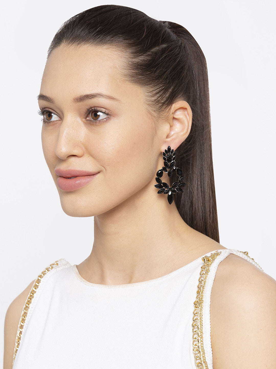 Black Stones and Beads Drop Earrings-3