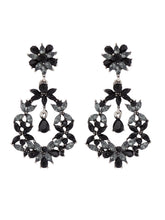 Load image into Gallery viewer, Black Stones and Beads Drop Earrings-1