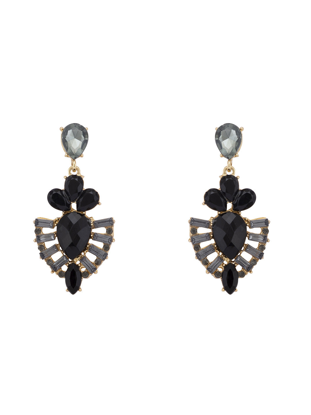 Black Stones and Beads Drop Earrings-1