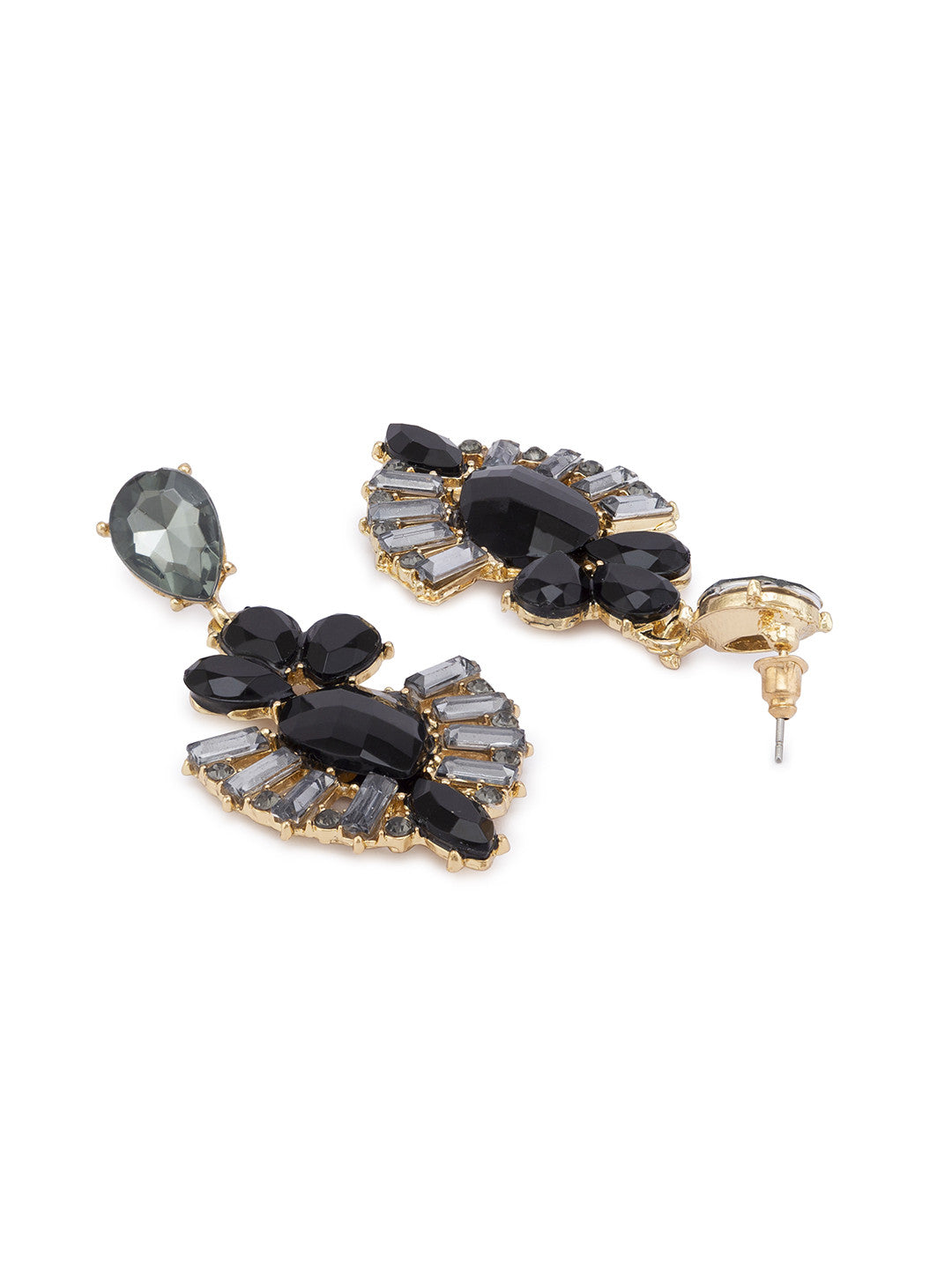 Black Stones and Beads Drop Earrings-2