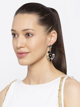 Load image into Gallery viewer, Black Stones and Beads Drop Earrings-3