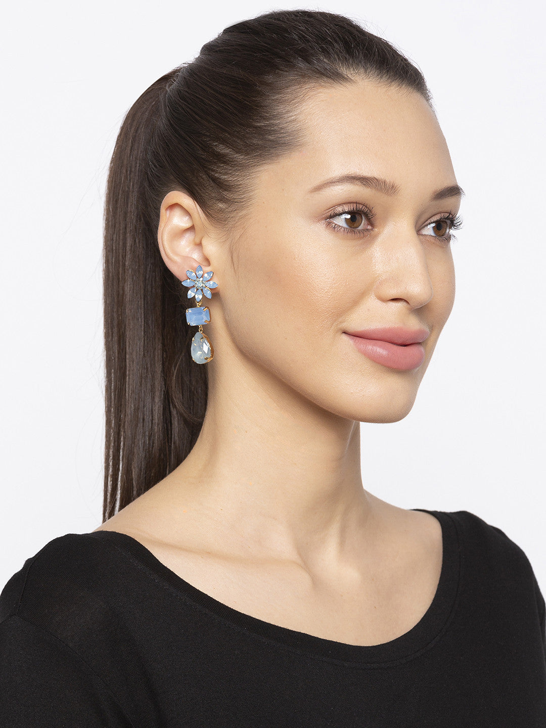 Blue Stones and Beads Drop Earrings-3