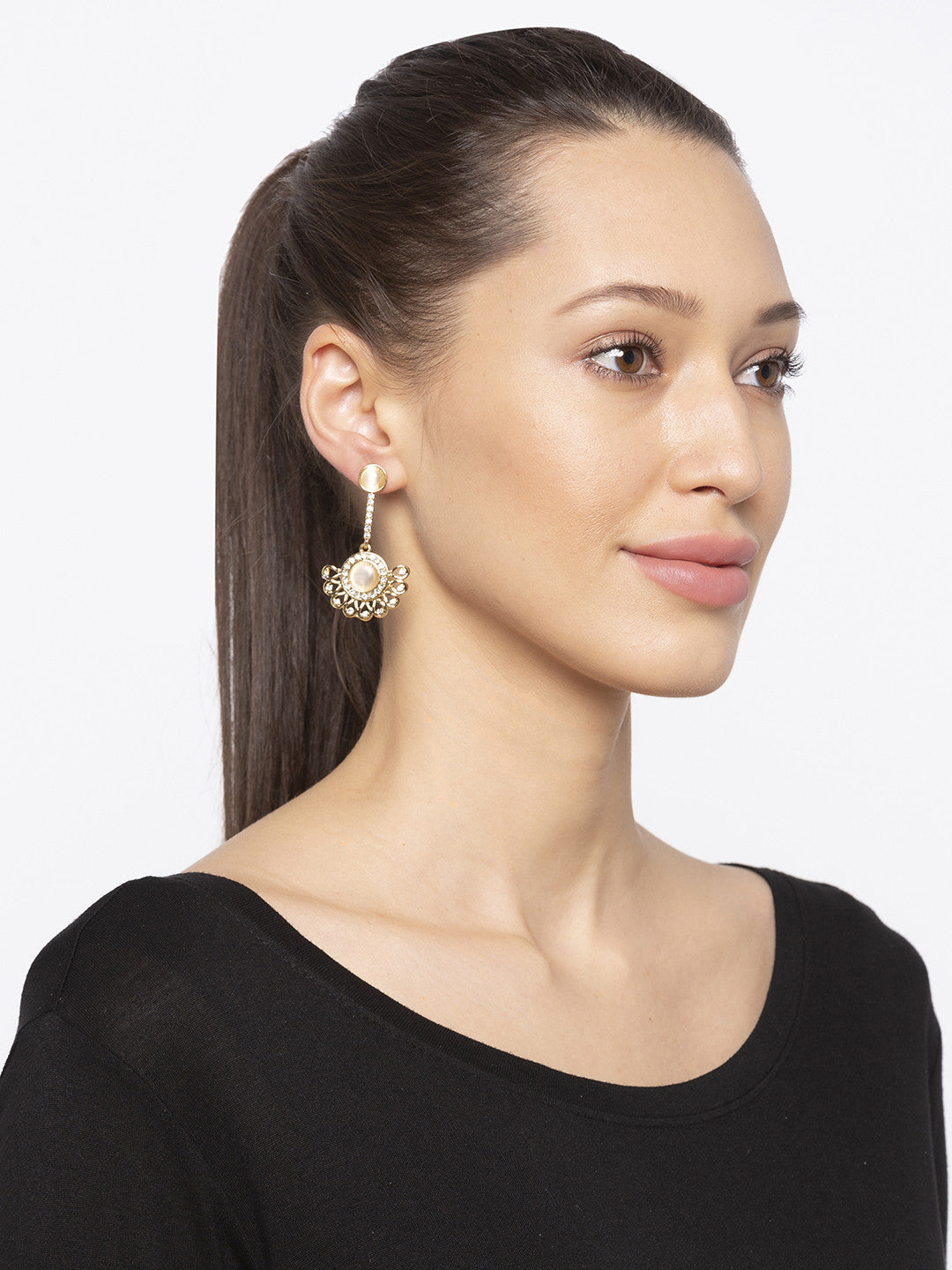 Gold Stones and Beads Drop Earrings-3