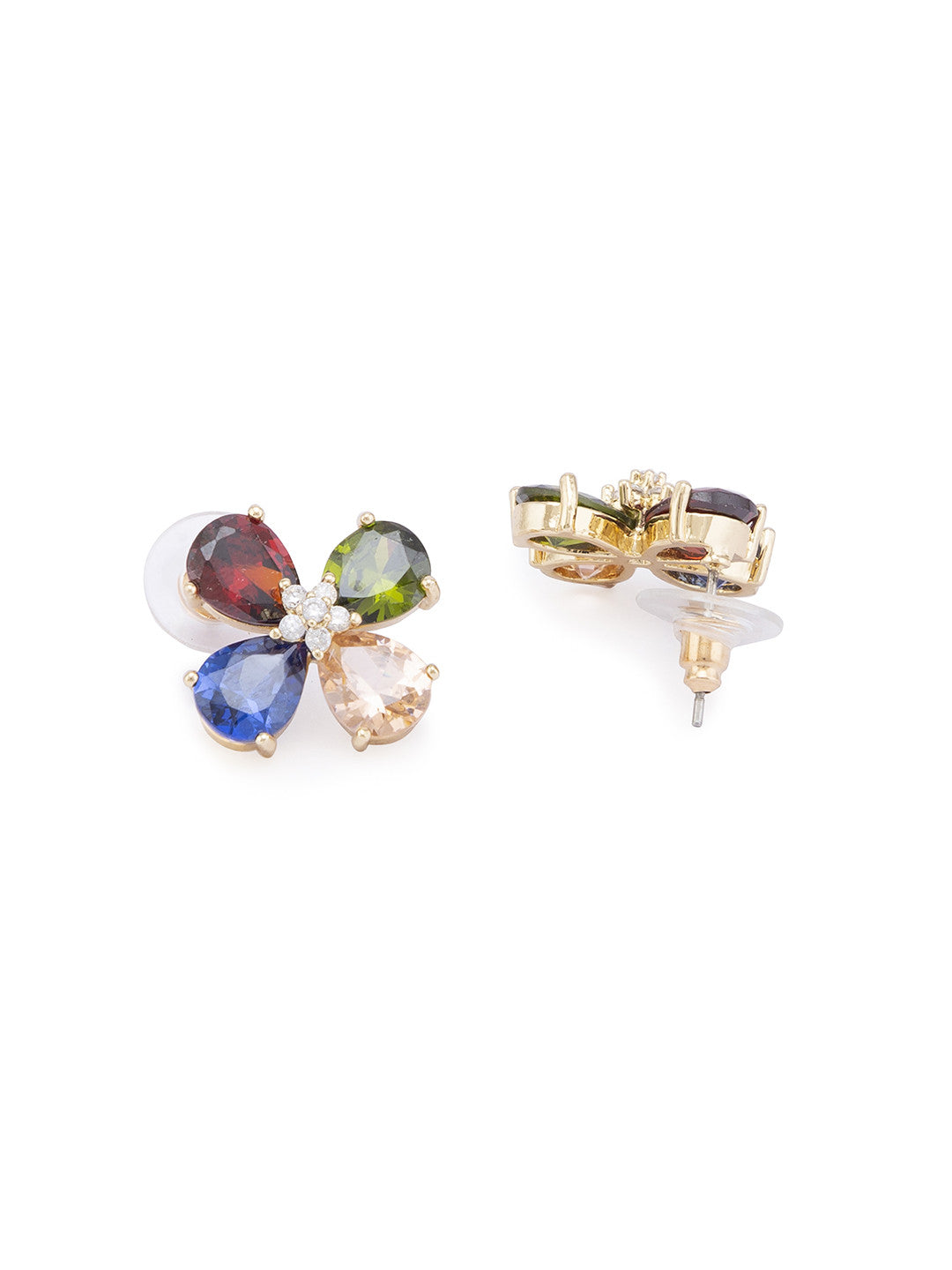 Gold Stones and Beads Studs-2