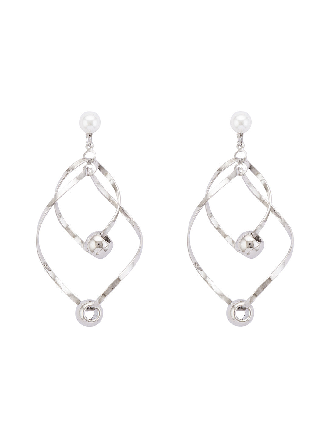 Silver Stones and Beads Drop Earrings-1