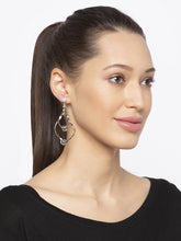 Load image into Gallery viewer, Silver Stones and Beads Drop Earrings-3