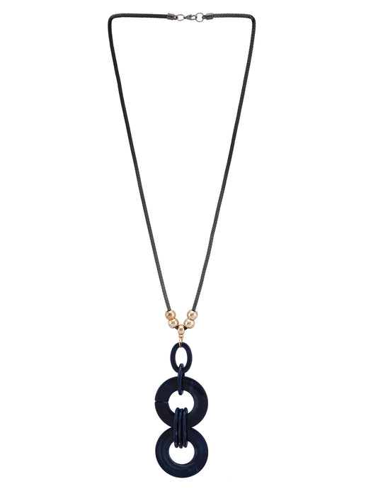 Disc Pendant Gold Navy Blue Necklace-1