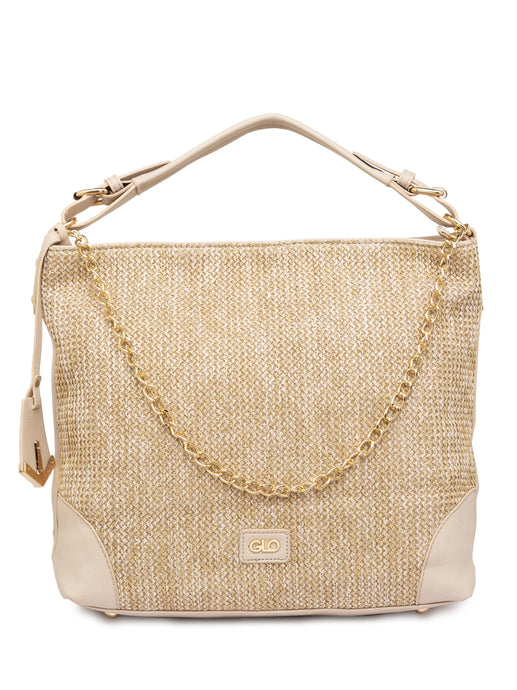 Textured Beige Structured Tote Bag-1