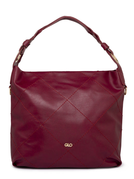Quilted Maroon Bucket Bag-1