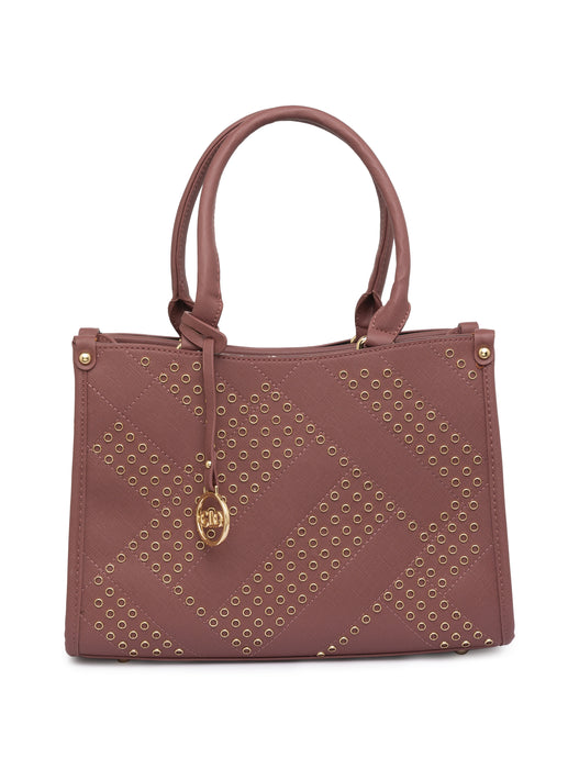 Rivet Stud Dirty Pink Structured Bag-1