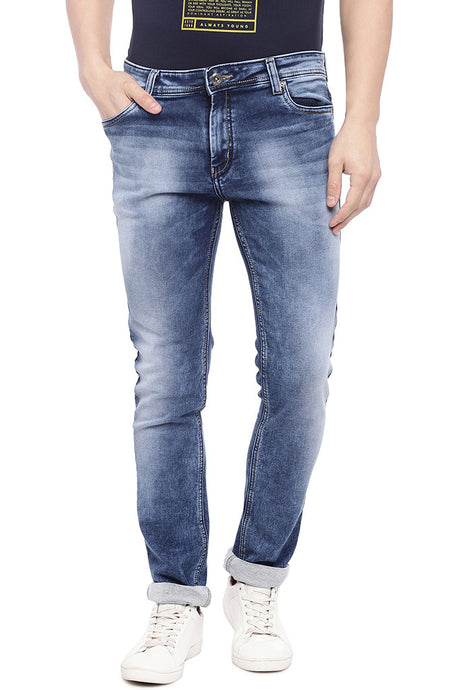 Blue Slim Fit Low-Rise Clean Look Jeans-1