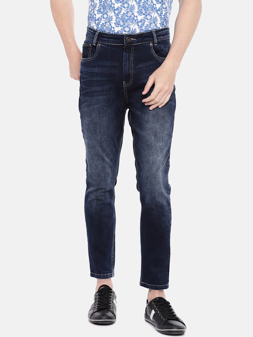 Navy Blue Regular Fit Mid-Rise Clean Look Stretchable Jeans-1