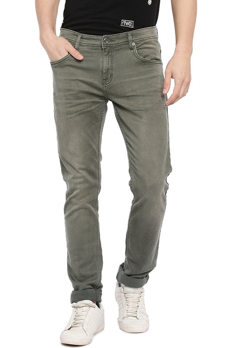 Olive Green Slim Fit Mid-Rise Clean Look Jeans-1