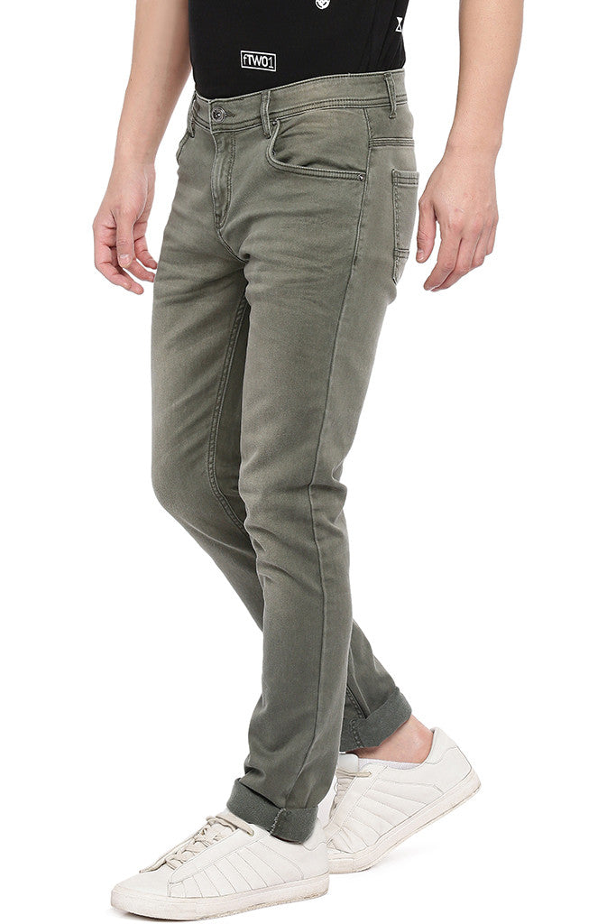 Olive Green Slim Fit Mid-Rise Clean Look Jeans-2