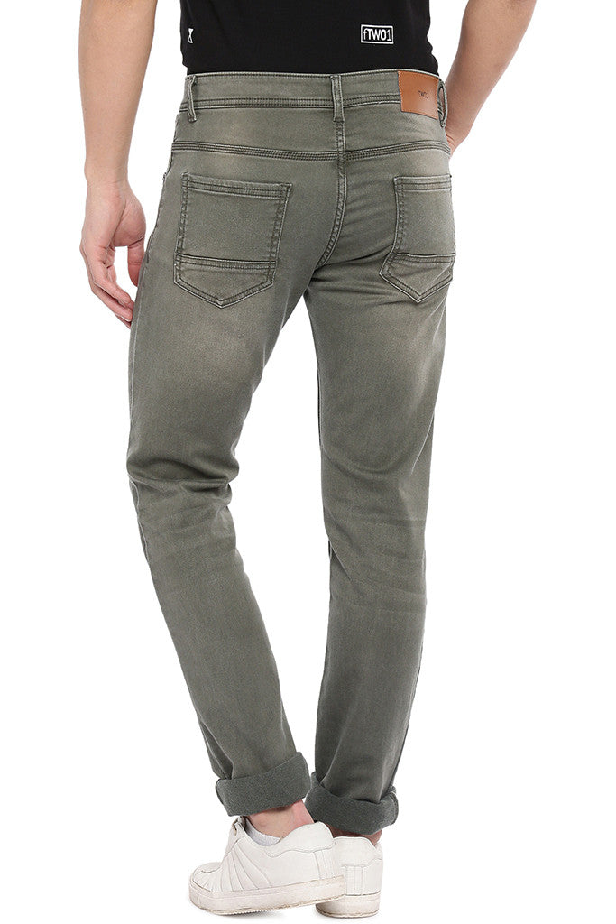 Olive Green Slim Fit Mid-Rise Clean Look Jeans-3