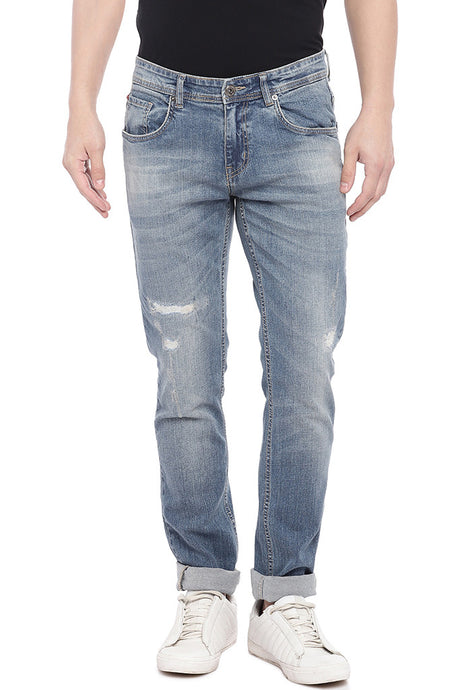 Blue Slim Fit Low-Rise Mildly Distressed Jeans-1