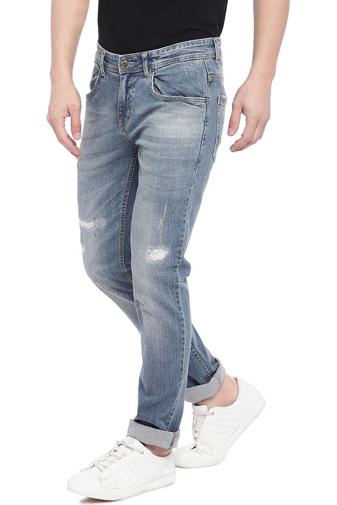 Blue Slim Fit Low-Rise Mildly Distressed Jeans-2
