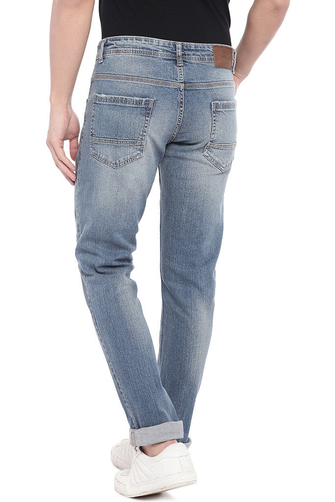 Blue Slim Fit Low-Rise Mildly Distressed Jeans-3