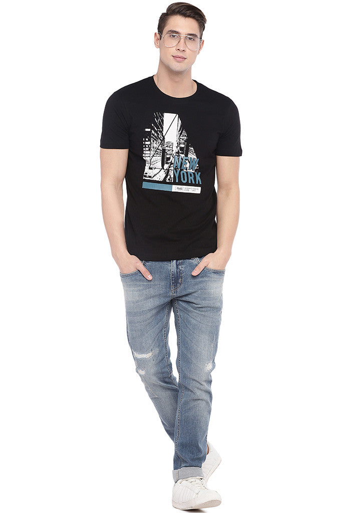 Blue Slim Fit Low-Rise Mildly Distressed Jeans-4