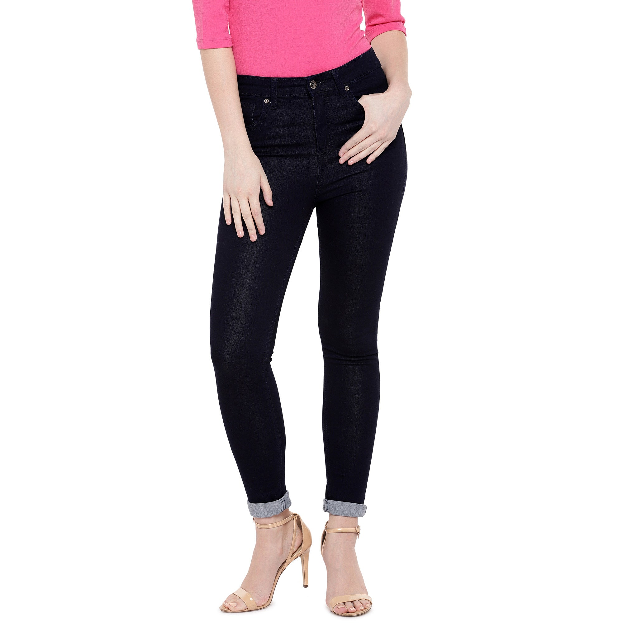 Black Skinny Fit High-Rise Clean Look Jeans-1