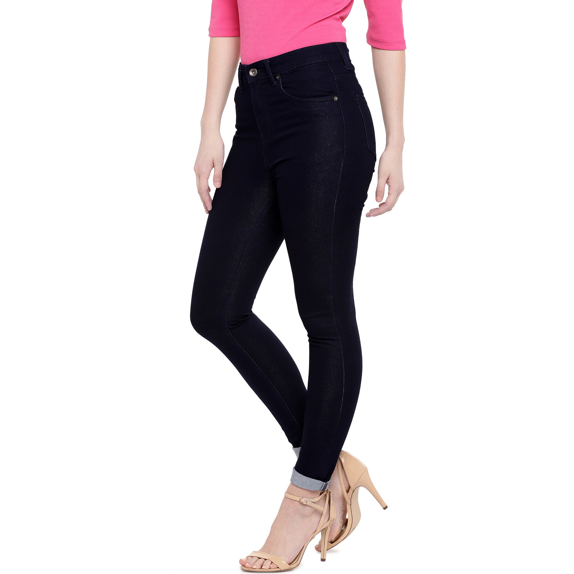 Black Skinny Fit High-Rise Clean Look Jeans-2