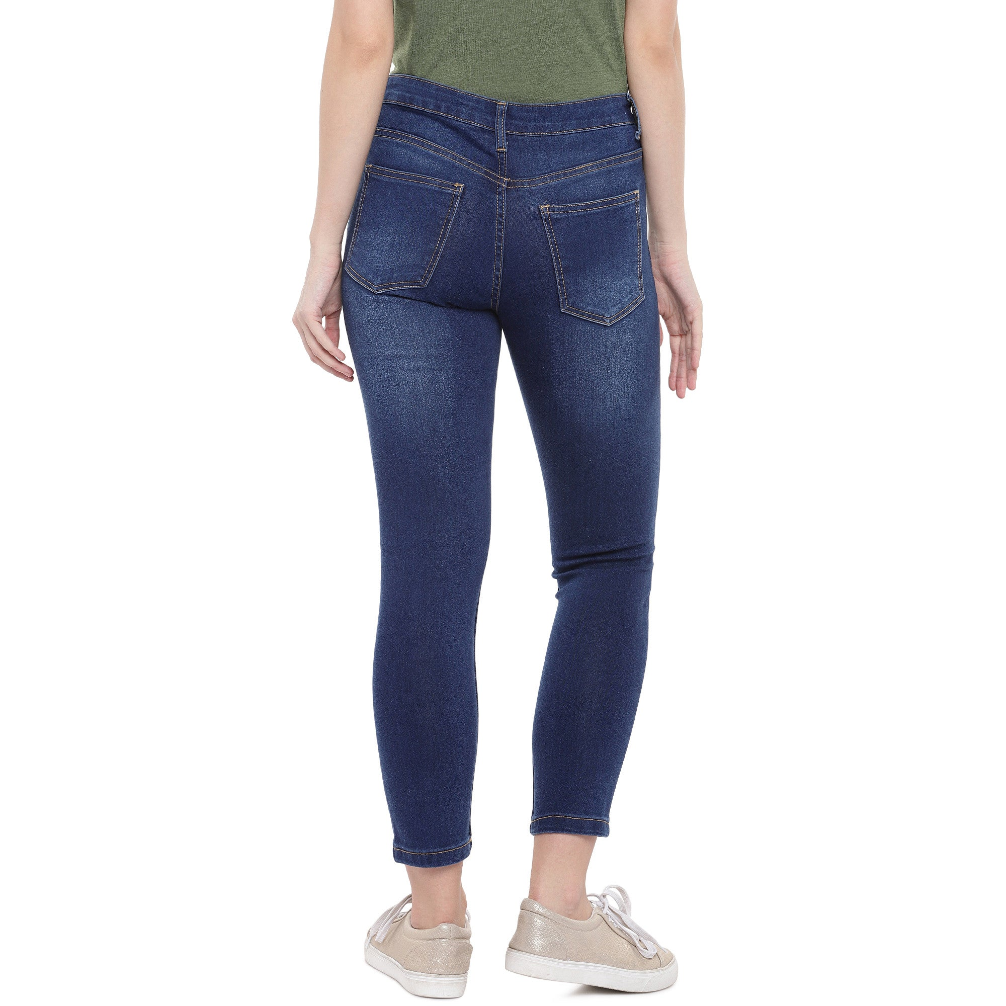 Blue Skinny Fit Mid-Rise Clean Look Jeans-3