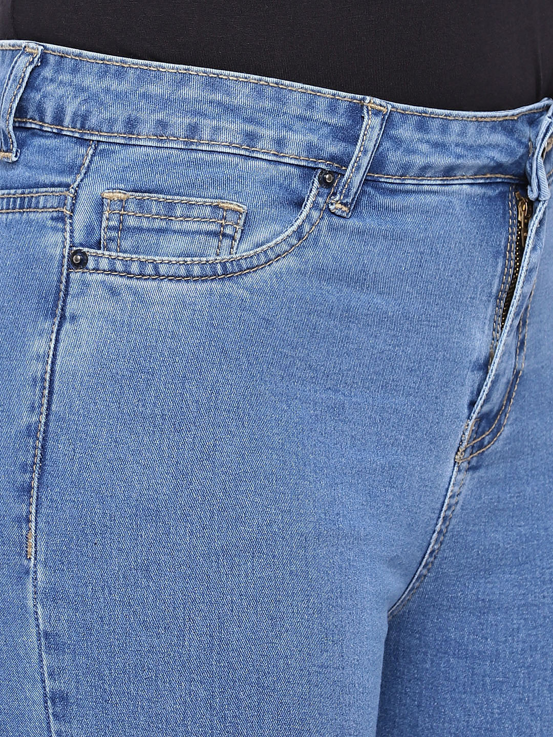 Blue Regular Fit Mid-Rise Clean Look Jeans-5