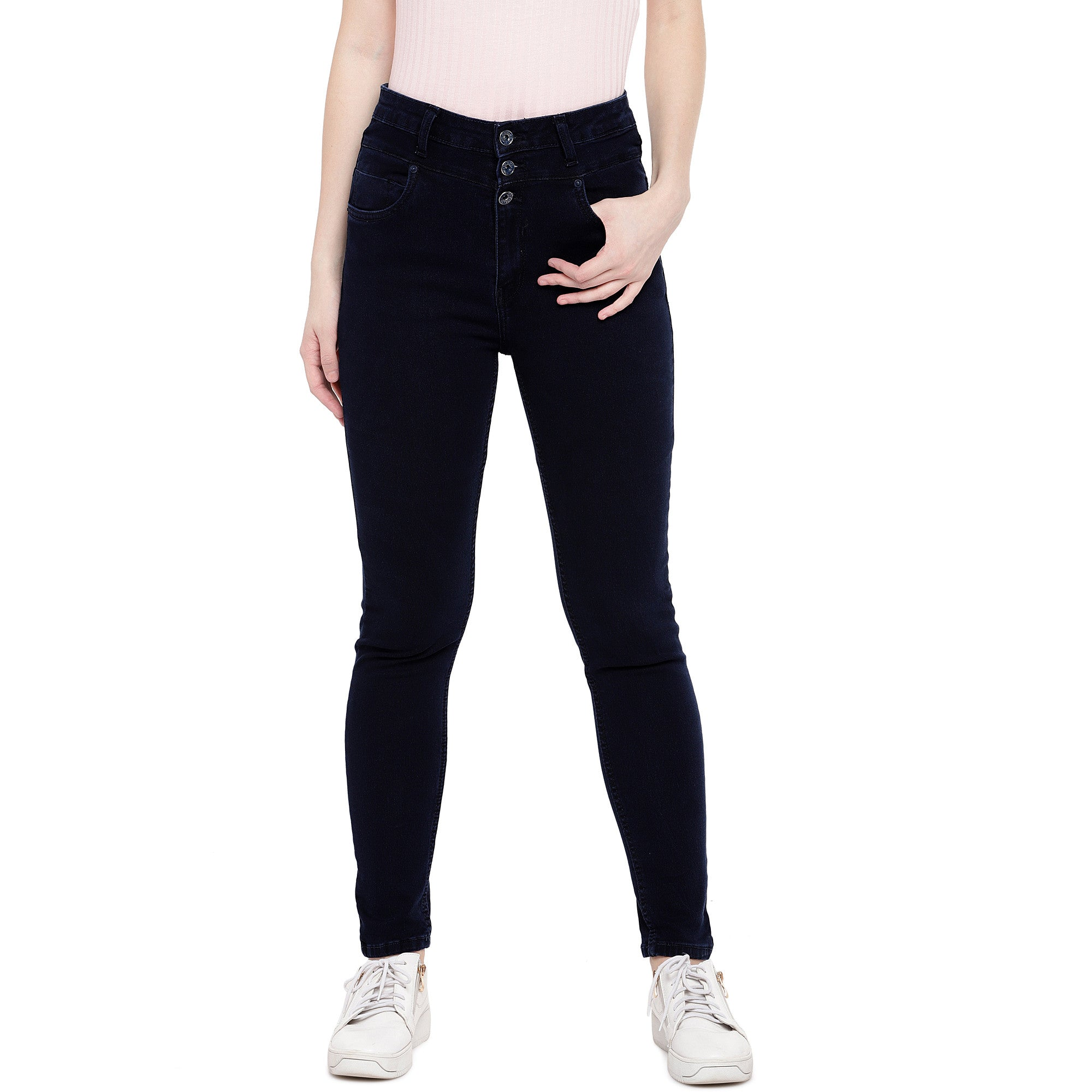 Blue Skinny Fit High-Rise Clean Look Stretchable Jeans-1
