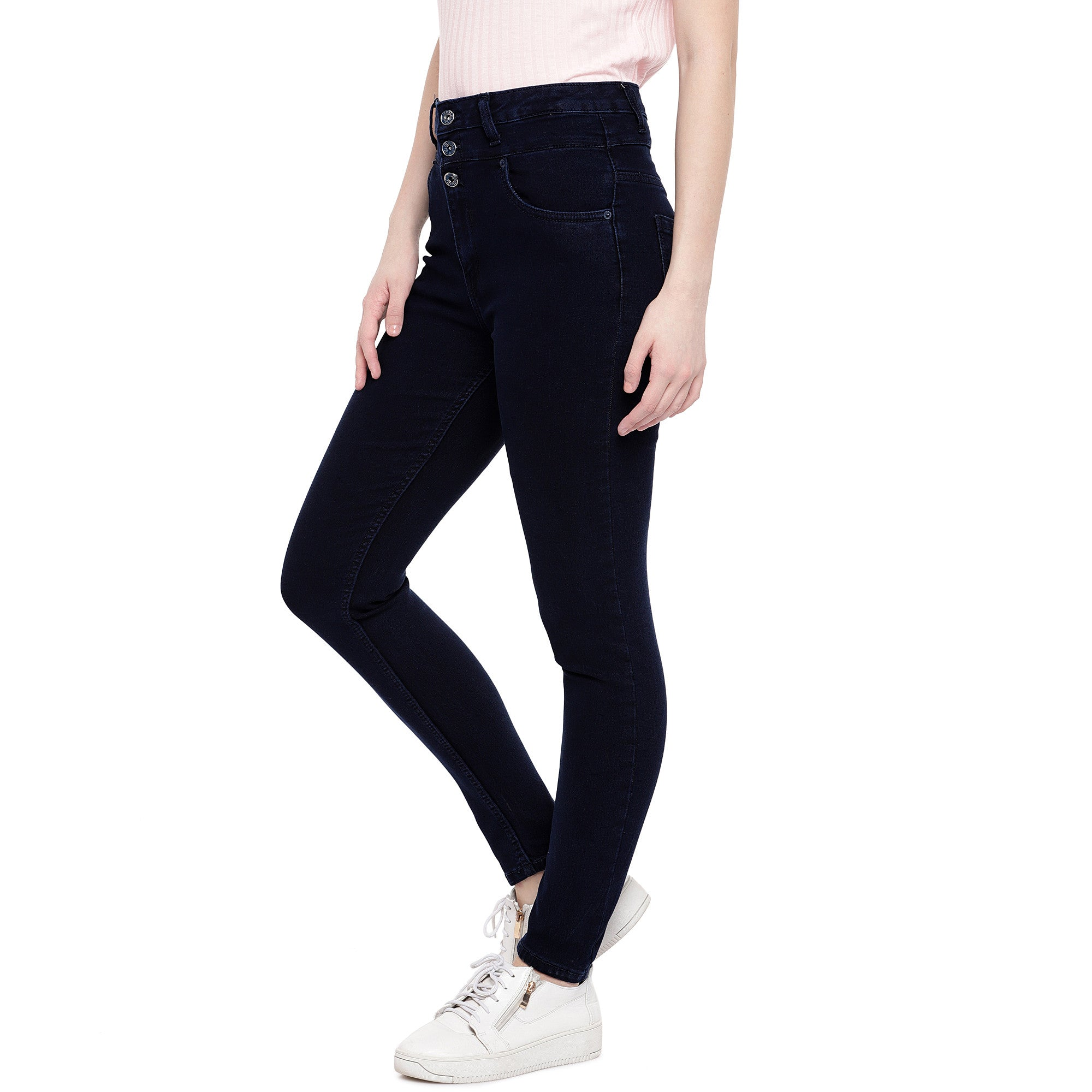 Blue Skinny Fit High-Rise Clean Look Stretchable Jeans-2
