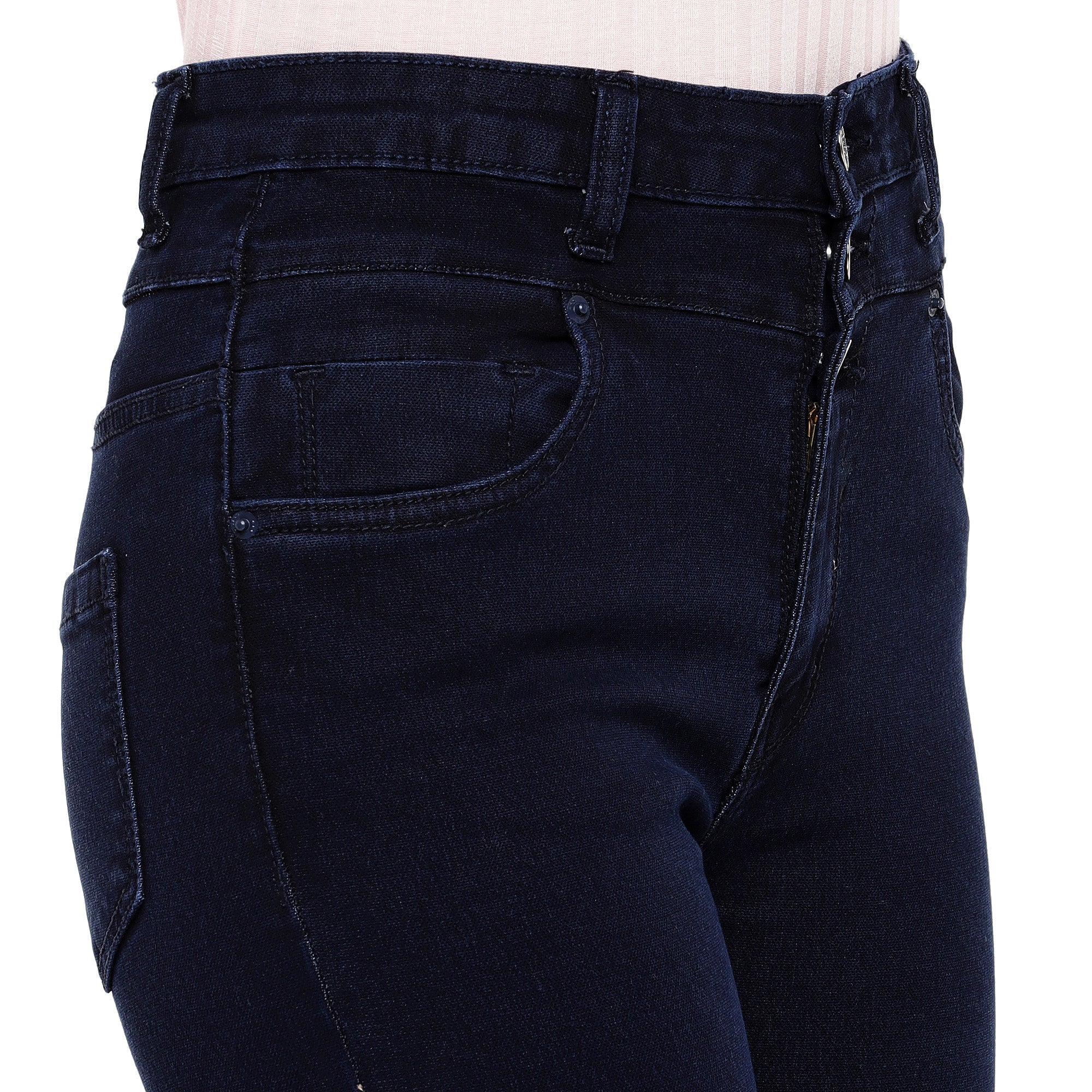 Blue Skinny Fit High-Rise Clean Look Stretchable Jeans-5