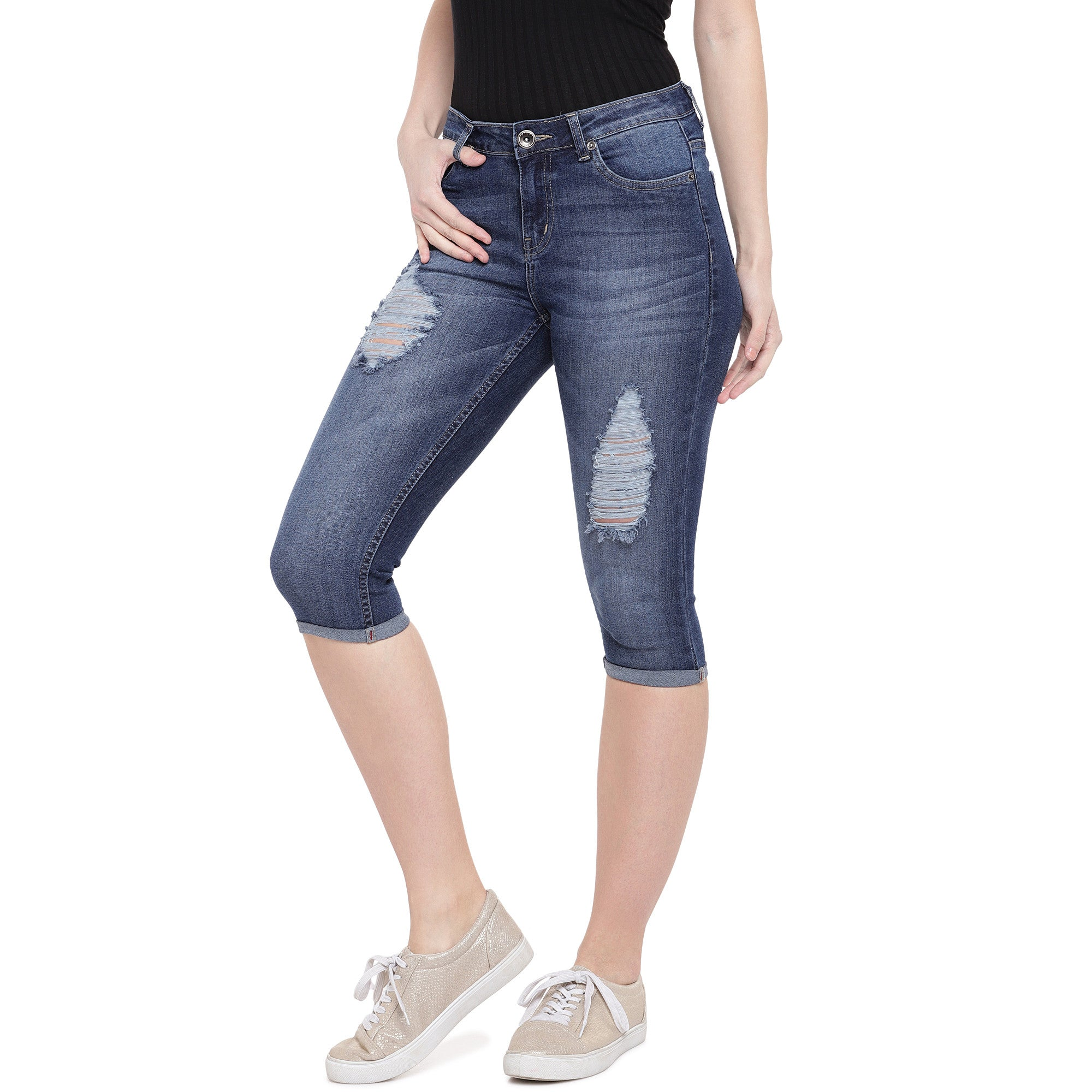 Blue Skinny Fit Mid-Rise Mildly Distressed Jeans-2