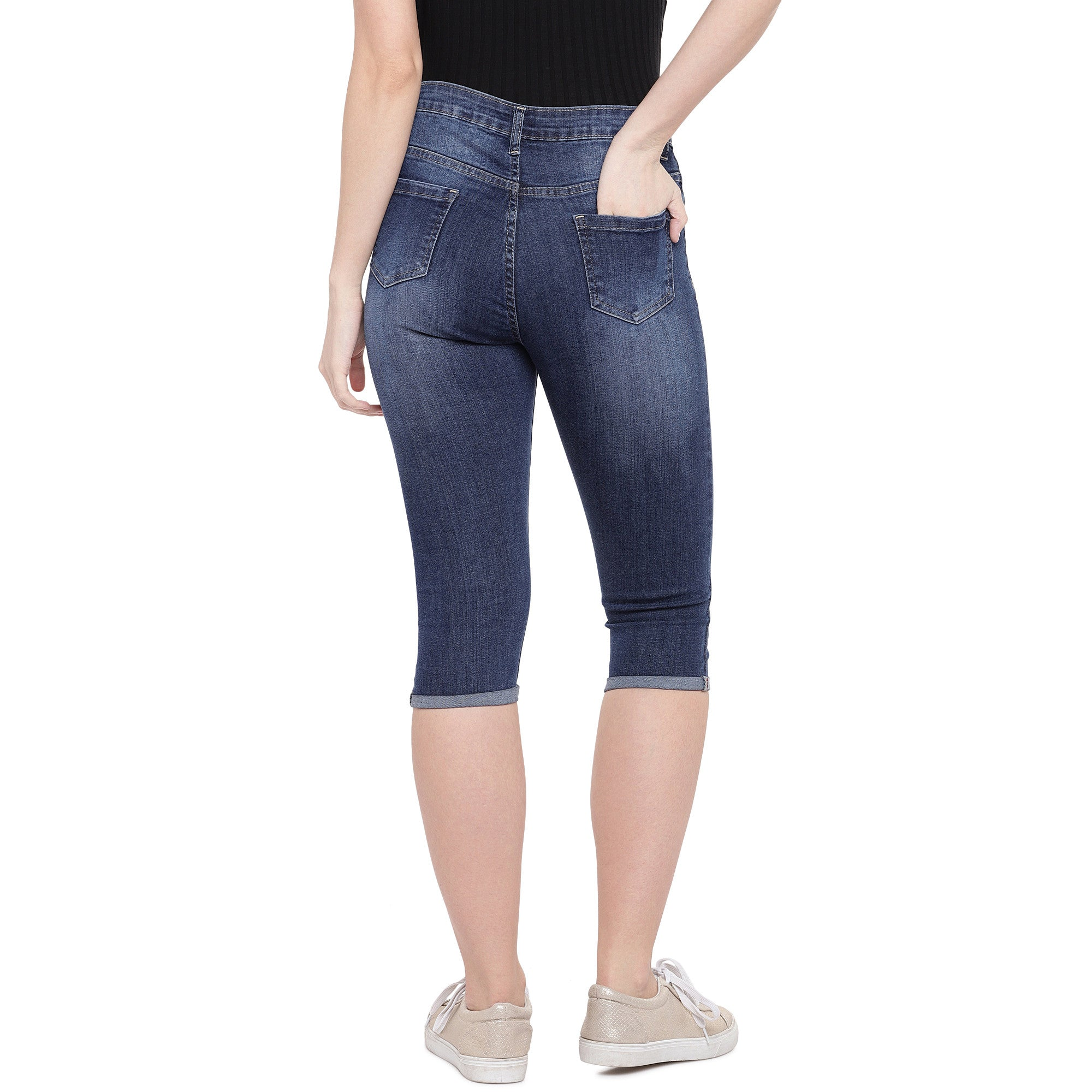 Blue Skinny Fit Mid-Rise Mildly Distressed Jeans-3