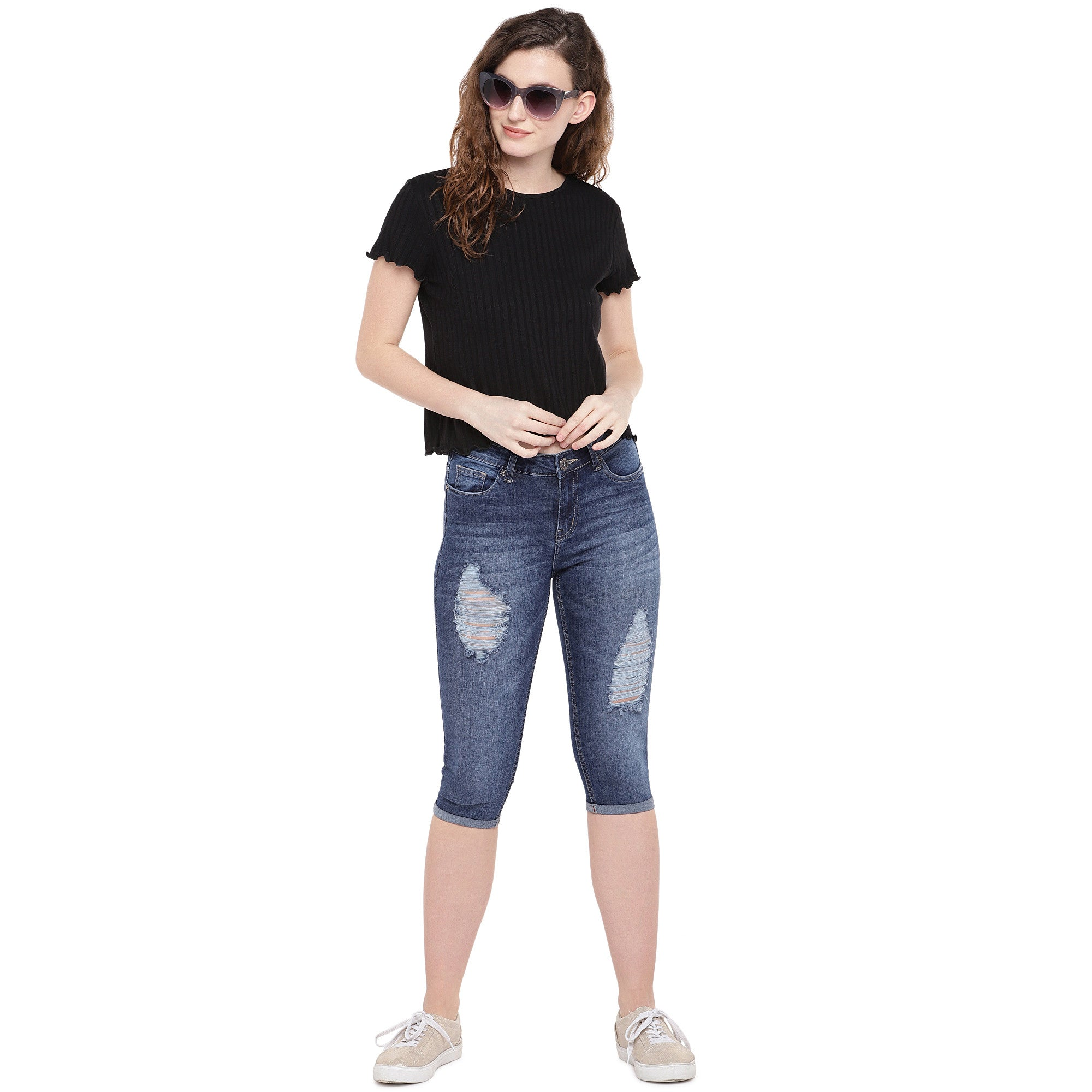 Blue Skinny Fit Mid-Rise Mildly Distressed Jeans-4