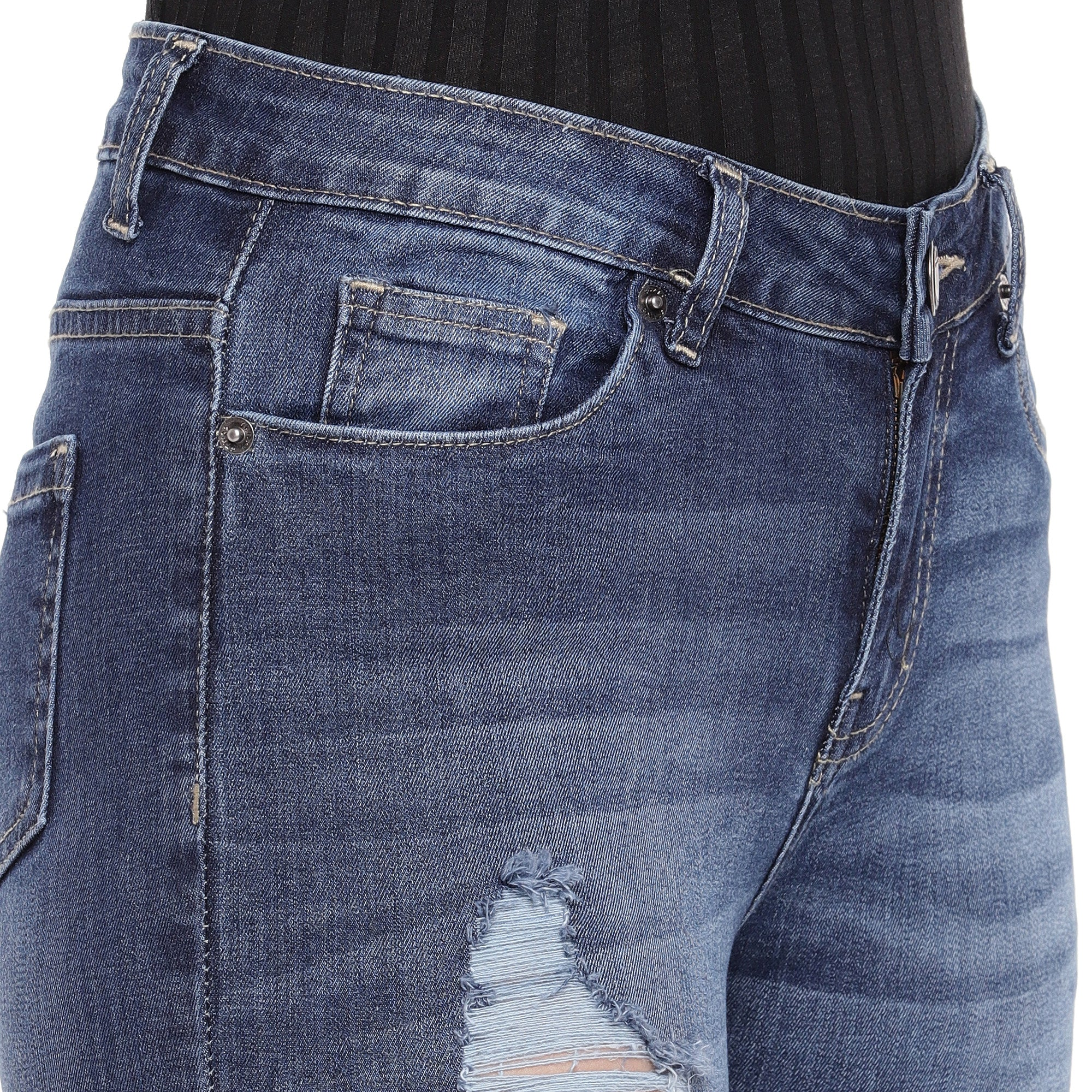Blue Skinny Fit Mid-Rise Mildly Distressed Jeans-5
