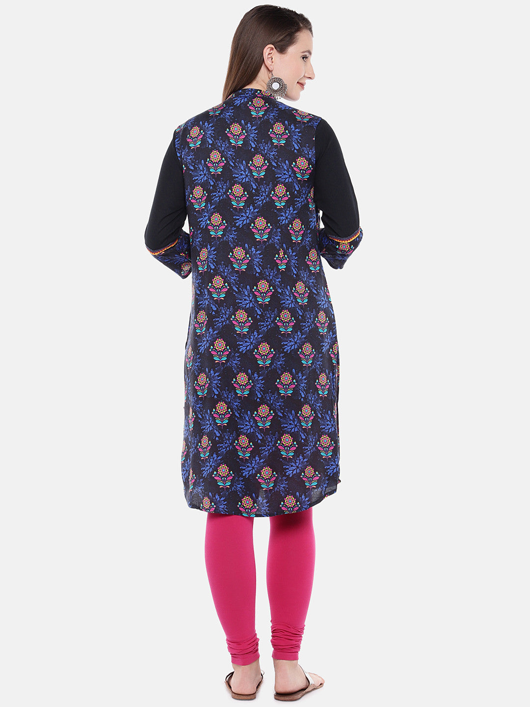 Women Navy Blue Printed Straight Kurta-3