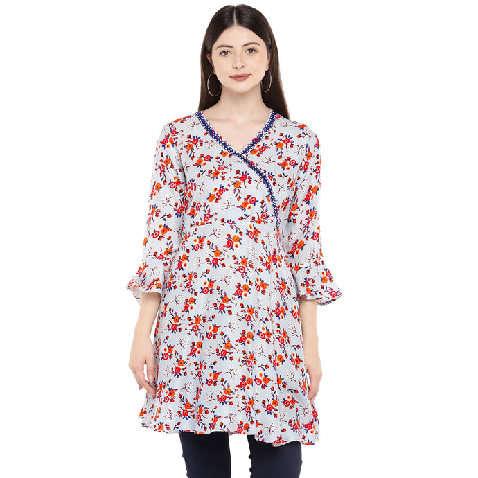 Women Grey & Red Printed Tunic-1