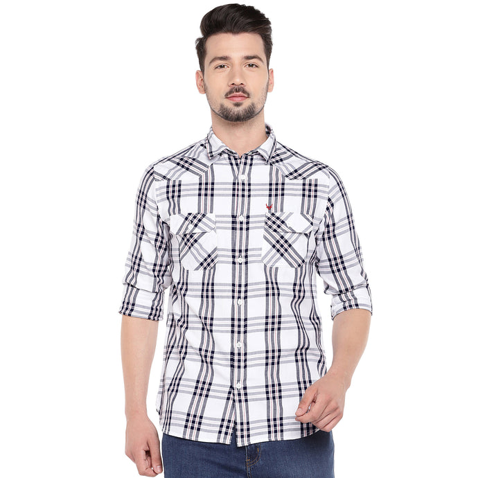 White Skinny Fit Checked Casual Shirt-1