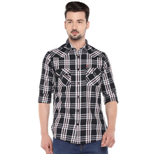 Load image into Gallery viewer, Black Slim Fit Checked Casual Shirt-1