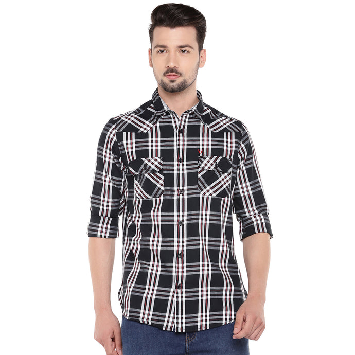 Black Slim Fit Checked Casual Shirt-1