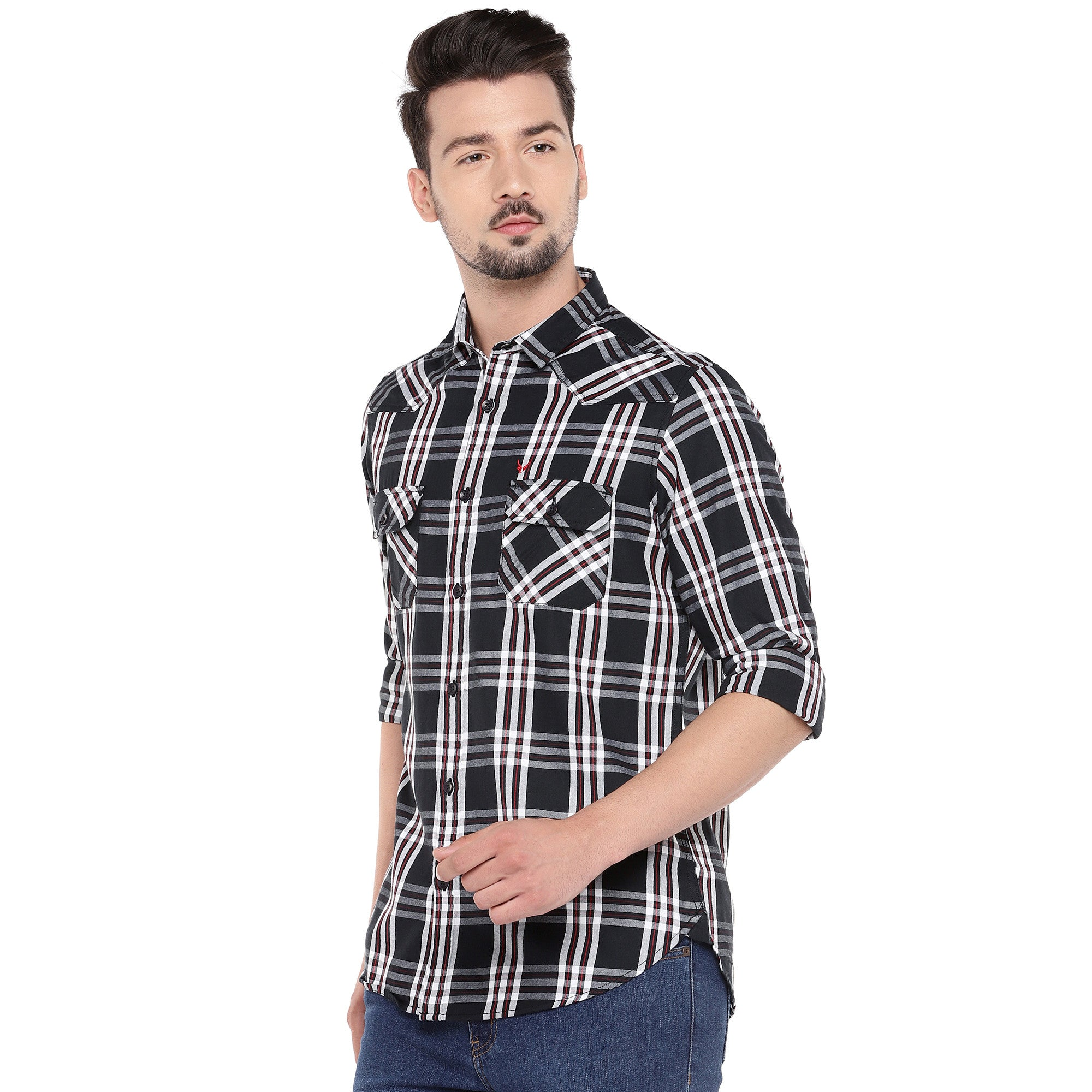 Black Slim Fit Checked Casual Shirt-2