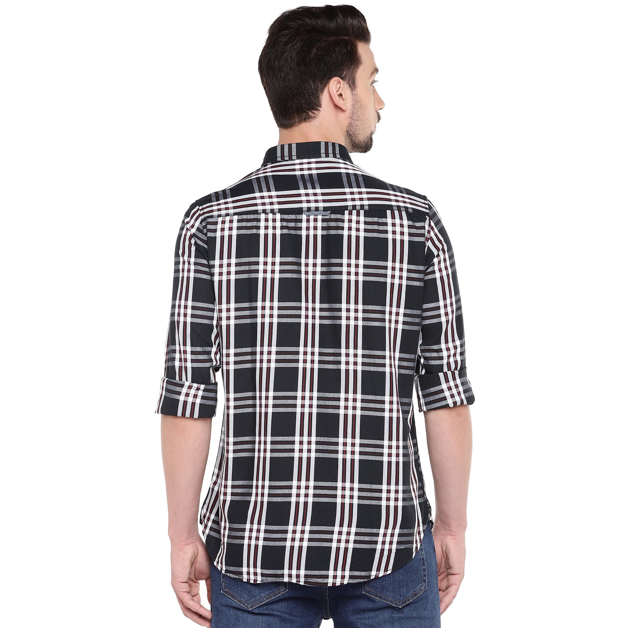Black Slim Fit Checked Casual Shirt-3