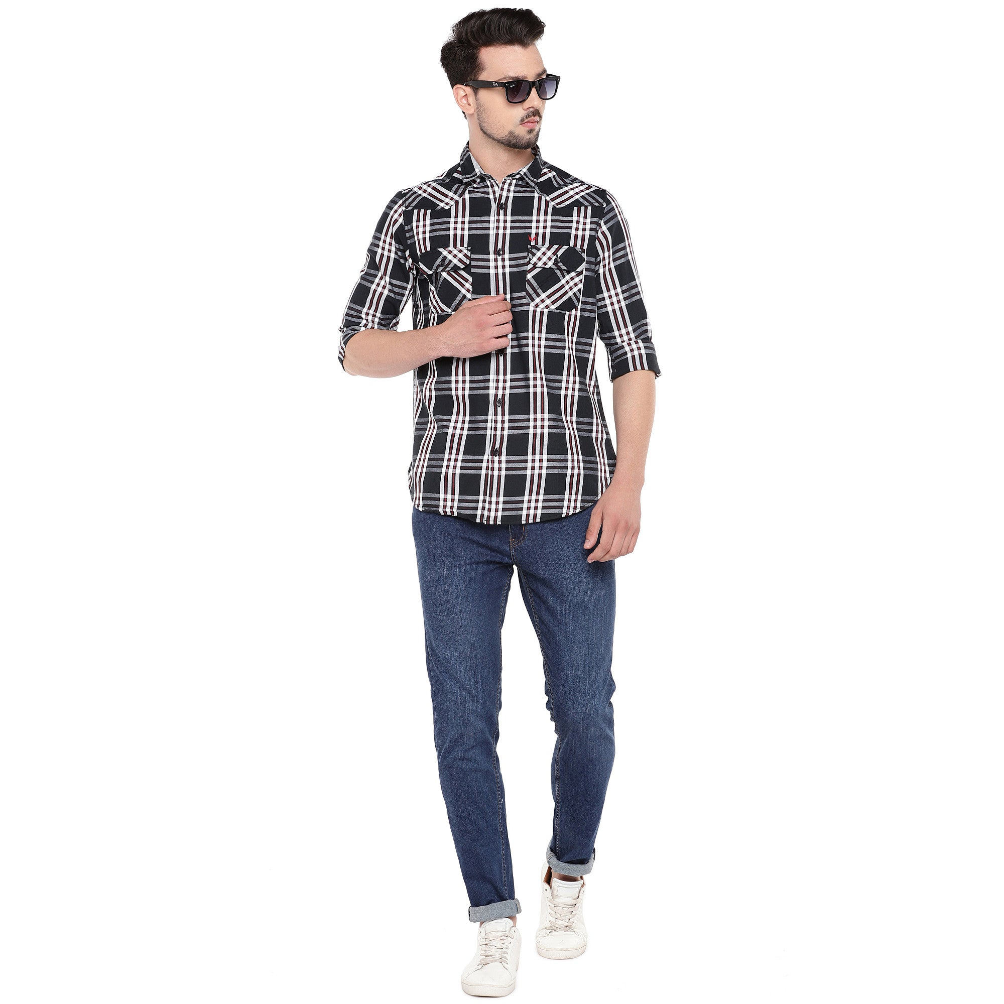 Black Slim Fit Checked Casual Shirt-4