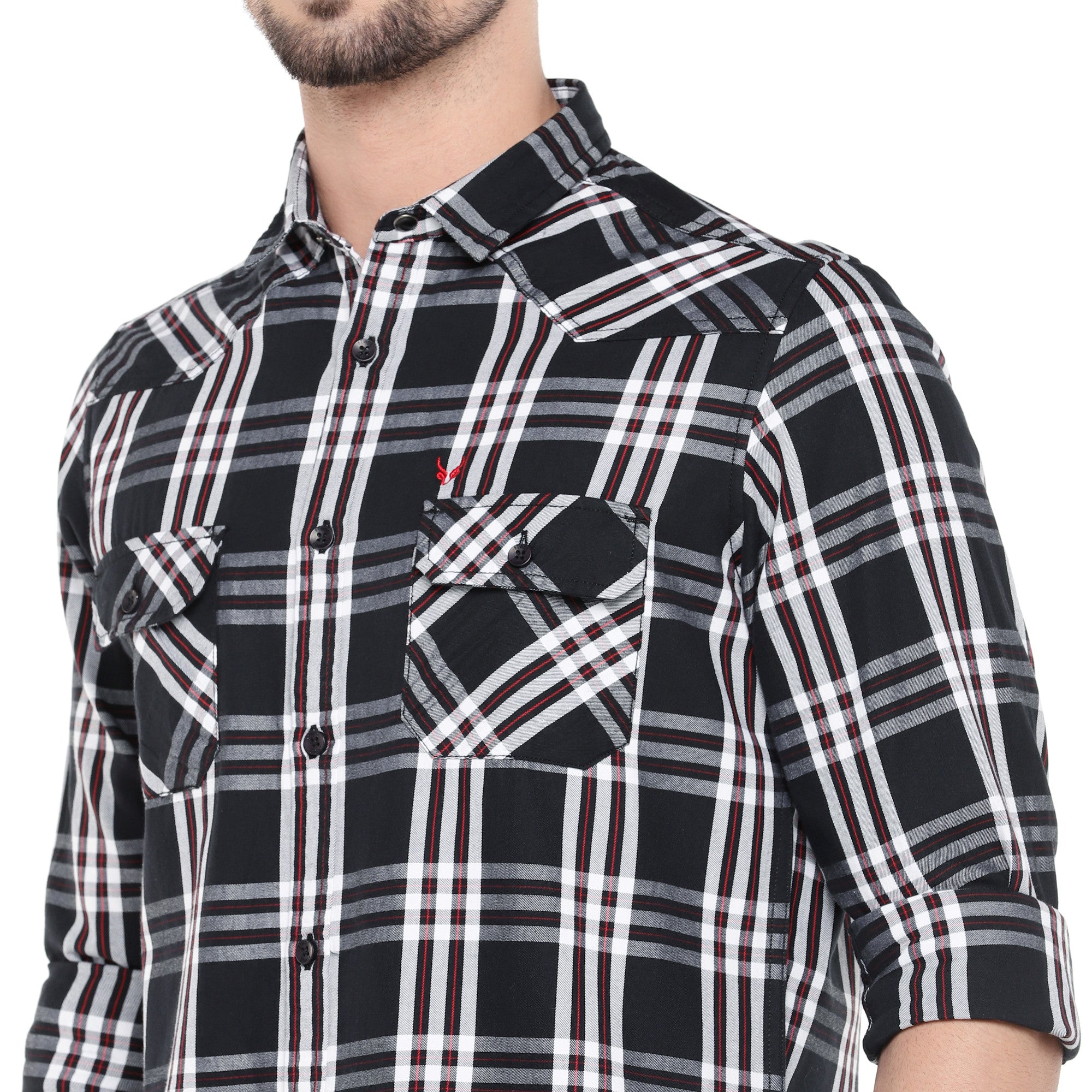 Black Slim Fit Checked Casual Shirt-5