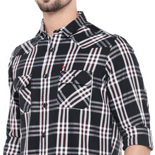 Load image into Gallery viewer, Black Slim Fit Checked Casual Shirt-5
