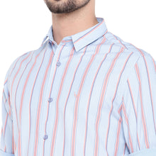 Load image into Gallery viewer, Blue & Orange Slim Fit Striped Casual Shirt-5