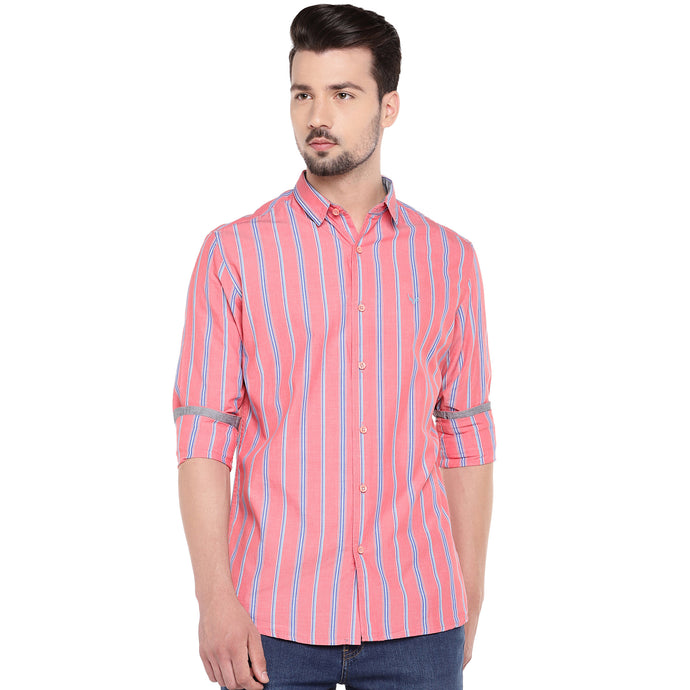 Red & Blue Slim Fit Striped Casual Shirt-1