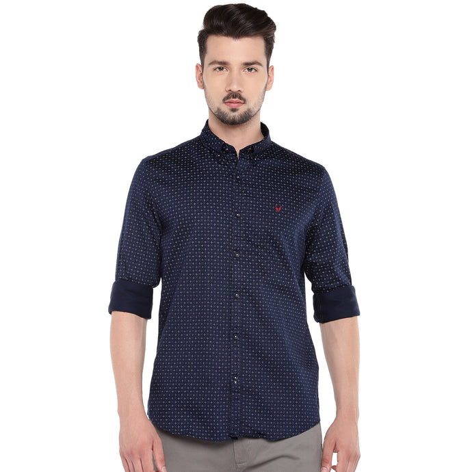 Navy Blue Slim Fit Printed Casual Shirt-1