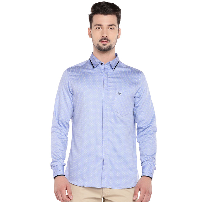 Blue Slim Fit Solid Casual Shirt-1
